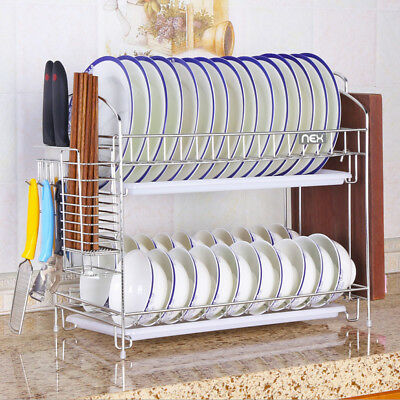 Stainless Steel Dish Rack Over Sink Bowl Shelf Organizer Nonslip Cutlery Holder 3
