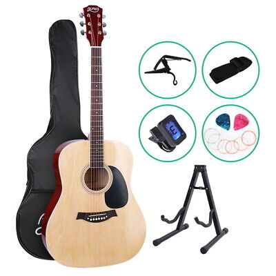"Alpha 41"" Inch Wooden Acoustic Guitar Classical Folk Full Size w/ Bag Capo Blue 10"