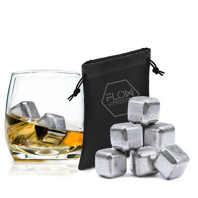 6 Stainless Steel Whiskey Stones Ice Cubes, Scotch, Brandy Drinks Chillers Gift