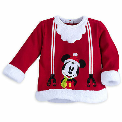 DISNEY STORE Mickey Mouse Holiday Outfit w//Hat Baby Boys 9-12 M NEW Santa XM698
