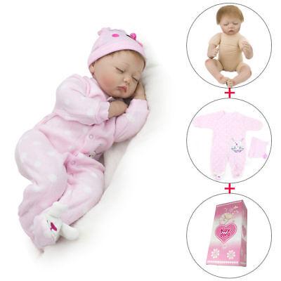 22'' Sleeping Reborn Baby Dolls Lifelike Vinyl Silicone Newborn Baby Doll Gifts