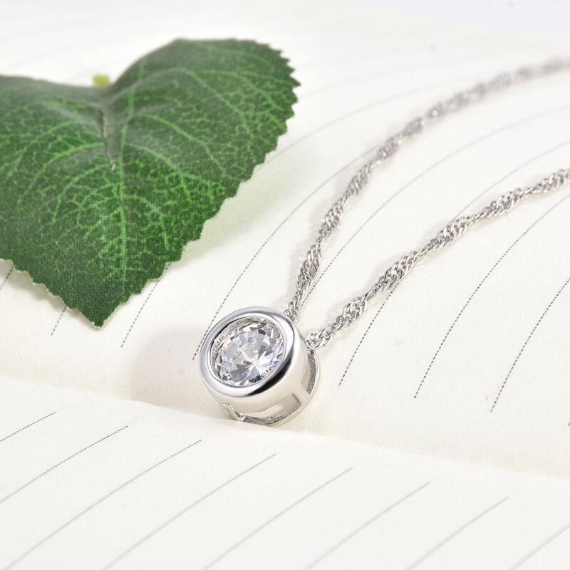 Fashion Women Round Single Crystal Rhinestone Silver Pendant Necklace Jewelry 8