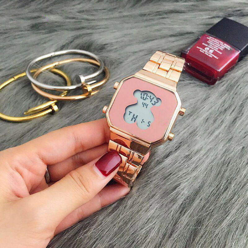 Men Women Bear Watch Digital Luxury Stainless Steel LED Cute Fashion Wristwatch 9