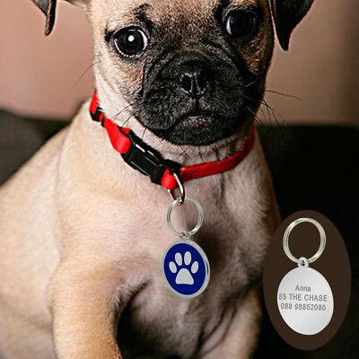 Round Bone Paw Print Custom Personalized Dog Tags Disc Free Engraved Cat ID Tag 9