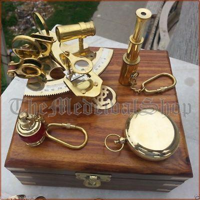 Vintage Maritime Compass/Telescope/Sextant W/Wooden Box Nautical Brass Gift Set 2