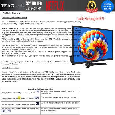 "TEAC 32"" Inch HD SMART TV Netflix Youtube WIFI PVR APP Made Europe 3 Yr Warranty 7"