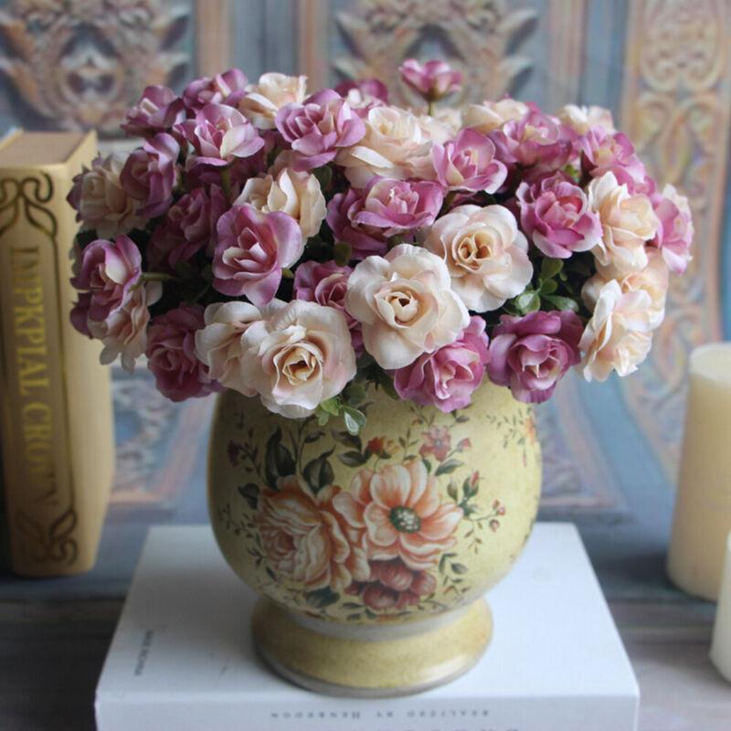 15 Heads/Bunch Artificial Fake Silk Rose Flower Bouquet Home Bridal Party Decor 7