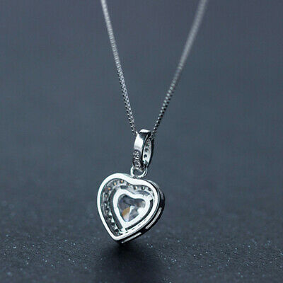 Heart Crystal Stone Pendant Necklace 925 Sterling Silver Chain Womens Jewellery 2