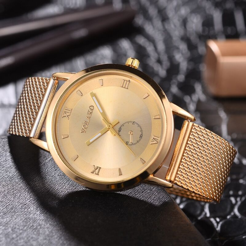 UK Women Ladies Rose Gold Silver Plated Stainless Steel Geneva Wrist Watch 9