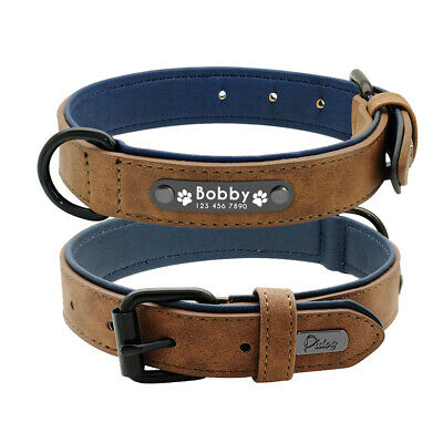 Soft Leather Personalized Dog Collar ID Tag Engraved for Small Medium Large Dog 6
