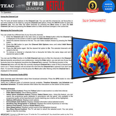"""TEAC 49"""" Inch FHD SMART TV Netflix Youtube Freevie Made In Europe 3Year Warranty 7"""