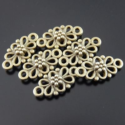 30X Vintage Style Bronze Tone Flower Hollow 10*8*2mm Pendant Charms Findings 4