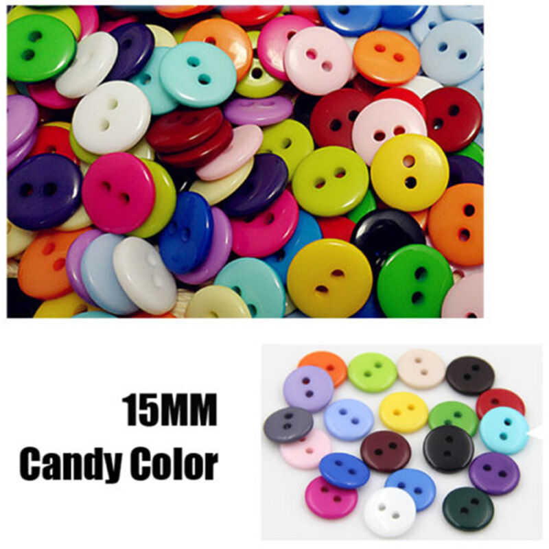 100Pcs Pop Plastic Sewing Buttons Scrapbook 15mm 2 Holes for Craft DIY Buttons 3