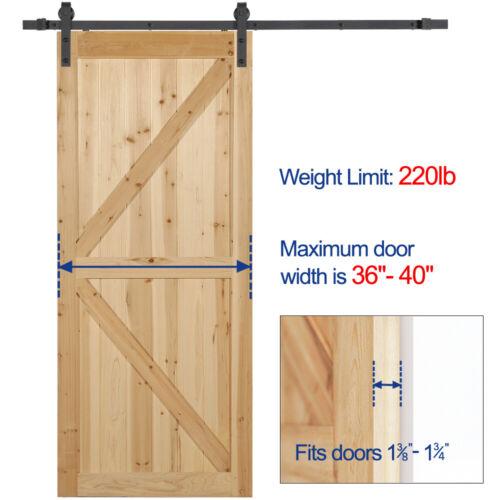 Sliding Barn Door Hardware Kit 6.6FT Modern Closet Hang Style Track Rail Black 5