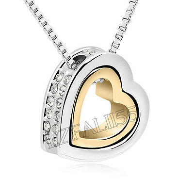 Fashion Women Pendant Jewelry Crystal Heart 925 Sterling Silver Necklace+Chain 3