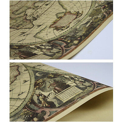 Vintage World Map Globe Matte Brown Paper Old Poster Wall Décor 71x50cm WE9Z 2
