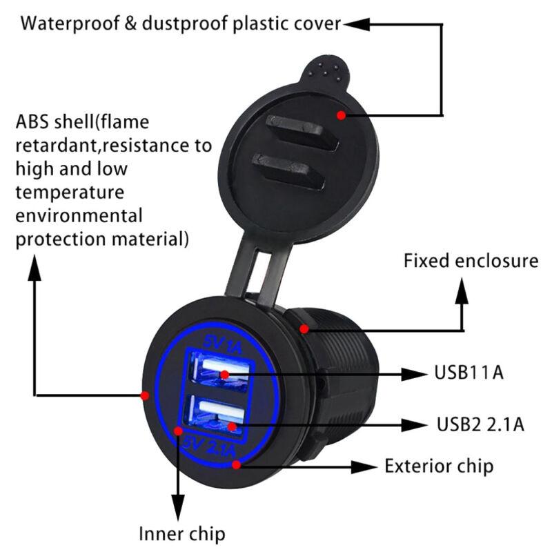 12V Car Boat switch panel Cigarette Lighter Socket 3.1A USB Charger Voltmeter 2