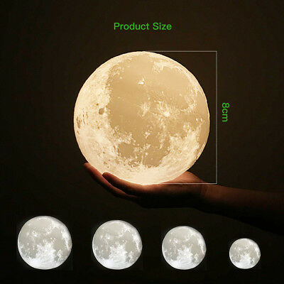 Dimmable 3D Magical Moon Lamp USB LED Night Light Moonlight Touch Sensor Lamp 9