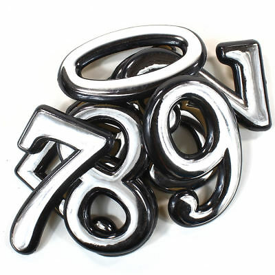 """Self Adhesive Door Numbers Chrome Finish 4"""" Number 2"""" Letter House Apartment 2"""