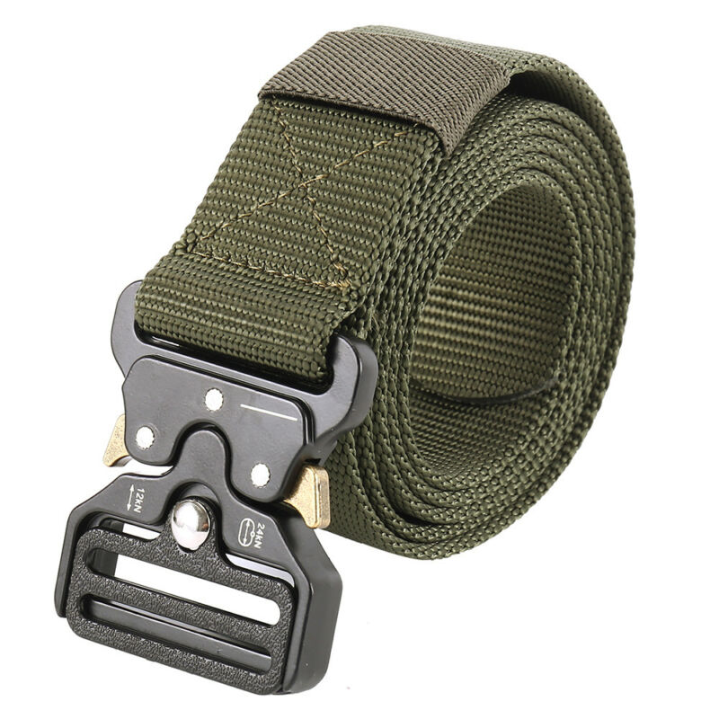 Mens Heavy Duty Military Canvas Belt Tactical Bag Army Outdoor Utility Waistband