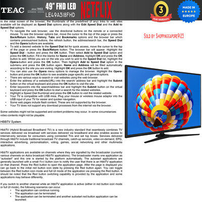 """TEAC 49"""" Inch FHD SMART TV Netflix Youtube Freevie Made In Europe 3Year Warranty 11"""
