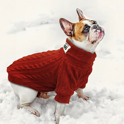 Knitted Dog Sweater Chihuahua Clothes Winter Knitwear Pet Puppy Jumper Red Black 8