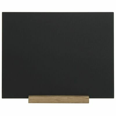 "Expressly HUBERT® Matte Black Sign with Wooden Base - 8 1/2""L x 11""H 3"