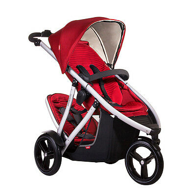 PHIL & Teds Vibe V3 Double Stroller in Red + Alpha Car Seat Travel ...