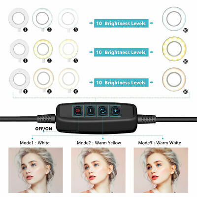Studio LED Ring Light w/ Tripod Stand Dimmable Photo Video Lamp Kit For Camera 3