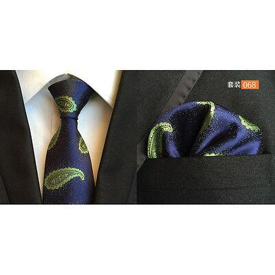 Men Classic Silk Paisley Tie Jacquard Woven Necktie Pocket Square Handkerchief 5