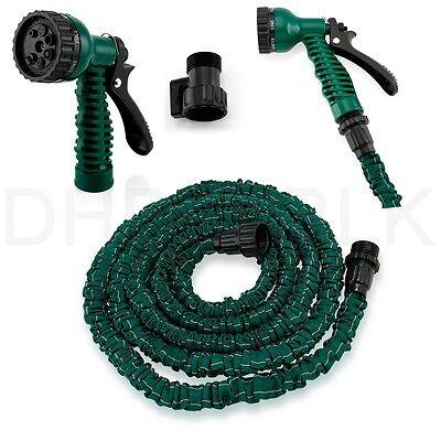 Deluxe 25 50 75 100 Feet Expandable Flexible Garden Water Hose w/ Spray Nozzle 10