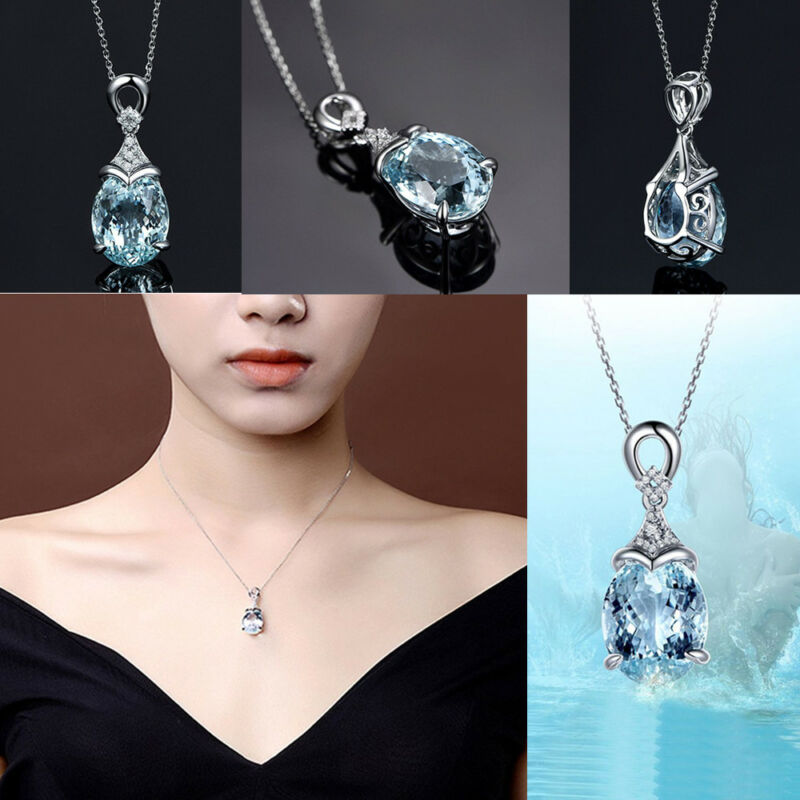 Vintage Gemstone  Natural Aquamarine Silver Chain Pendant Necklace Jewelry Gift 3
