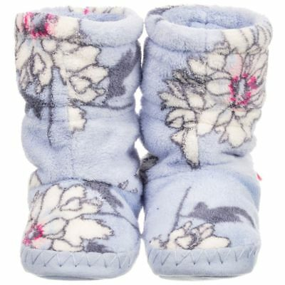 bnwt JOULES PALE BLUE FLORAL GIRLS SOFT SLIPPERS BOOTEES SIZE 8 - 10 INFANT 3