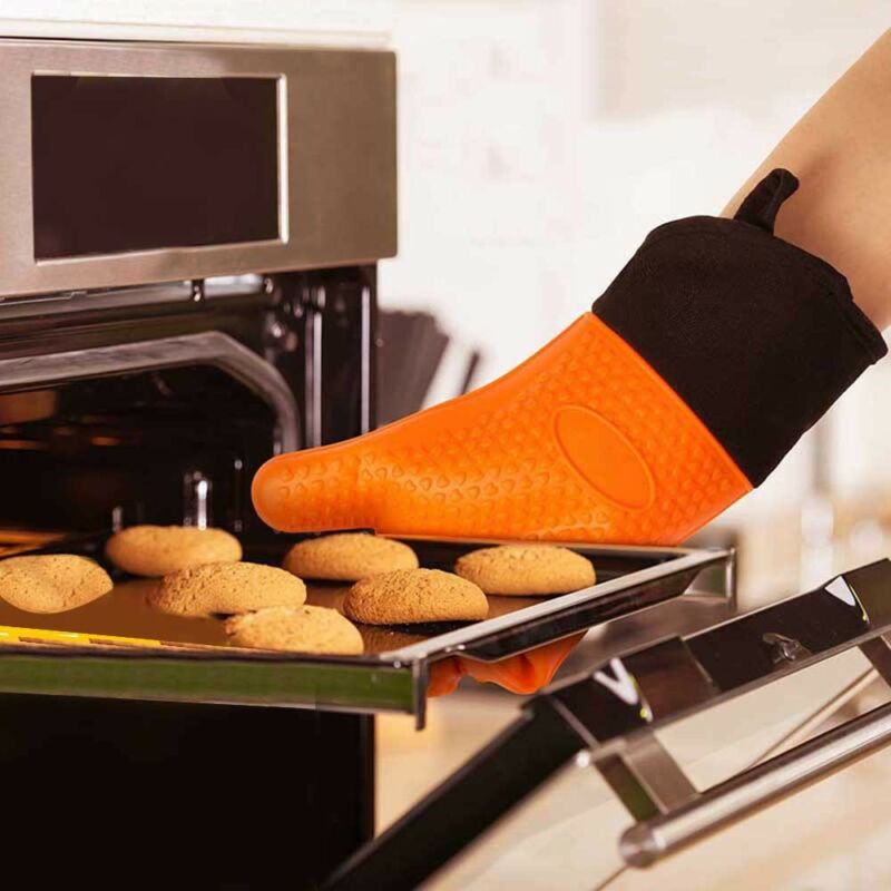 Silikon Ofenhandschuhe Grillhandschuhe Backhandschuhe Hitzebeständig  Küche BBQ 3