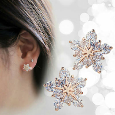 New 1 Pair Elegant Women Crystal Rhinestone Pearl Ear Stud Fashion Earrings Gift 6