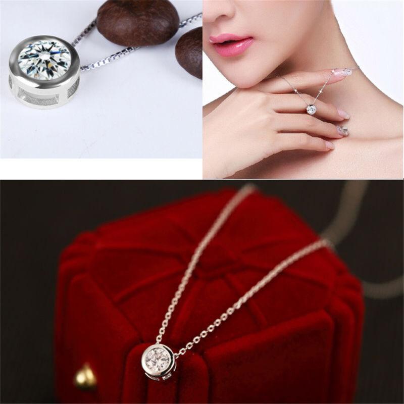 Fashion Women Round Single Crystal Rhinestone Silver Pendant Necklace Jewelry 2