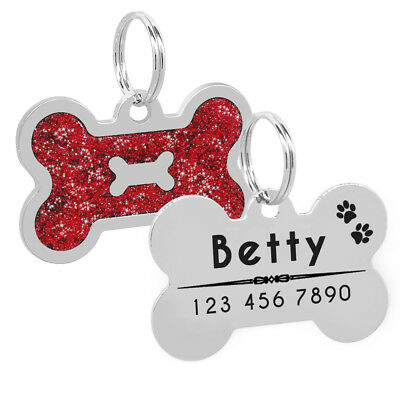 Bling Personalized Pet Dog Cat ID Tag Bone/Paw/Round Shape Collar Engraved Free 3