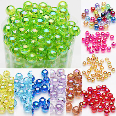 50/100Pcs Acrylic Round Plated AB Loose Spacer Beads Crafts Jewelry Findings DIY 2