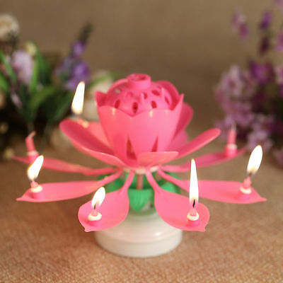ROTATING Lotus Candle Birthday Flower Musical Floral Cake Candles W Music Magic 2