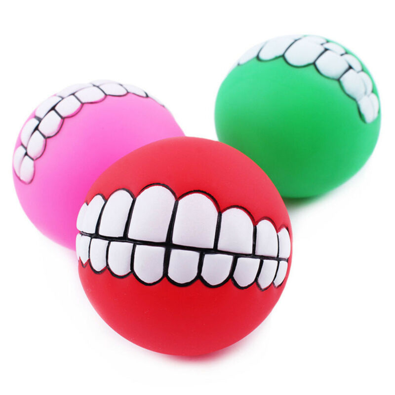 Pet Dog Ball Teeth Funny Silicon Toy Chew Squeaker Squeaky Sound Dogs Play Toy U 6