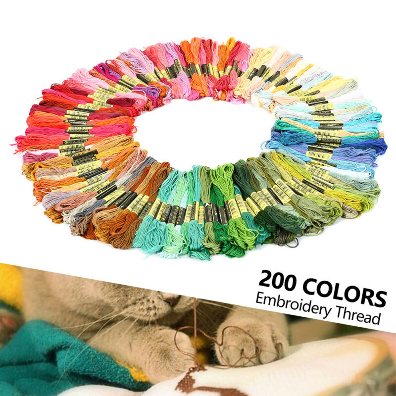 200 Docken Sticktwist Stickgarn Baumwolle 8m 6-fädig Multicolor Nähgarn Set DE 2