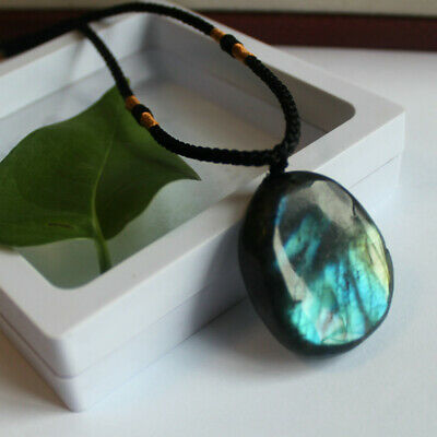 Delicate Natural Labradorite Pendant Crystal Necklace Healing Stone Necklace 9
