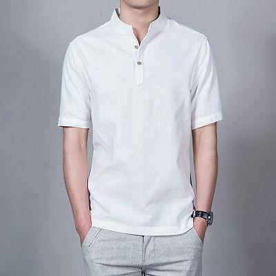 e0a7da3c5 ... Mens Linen Button Neck Shirt T-Shirt Mandarin Collar Chinese Vintage  Casual New 6