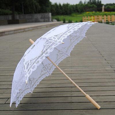 Vintage Lady Wedding Umbrella Handmade Cotton Parasol Lace Sun Umbrella Bridal 6