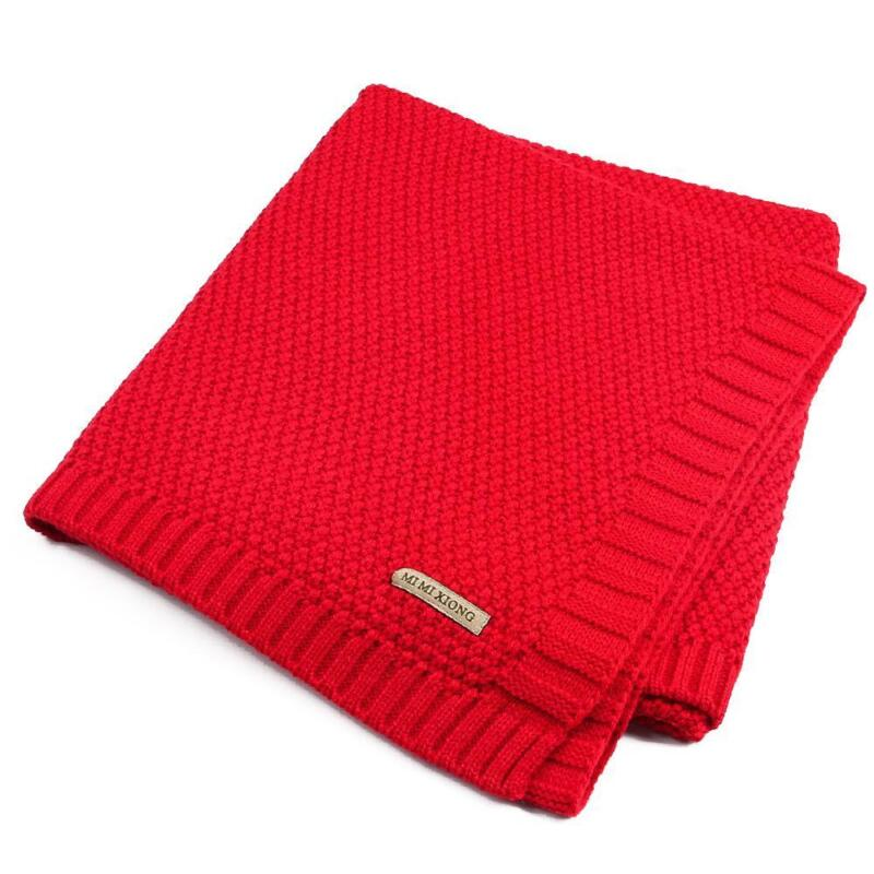 Solid Cotton Knitted Baby Blanket Soft Warm Cover for Boys Girls Kids 7 Colors 8