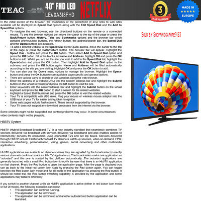 "TEAC 40"" Inch FHD SMART TV Netflix Youtube Freevie Made In Europe 3Year Warranty 11"