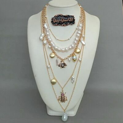 layered chain White Pearl Cz insect multi-layer charm necklace 3