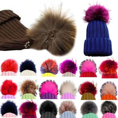 52f86db5bb7 2 of 12 Faux Fox Fur Pom Pom for Hat with Press Button Fake Fur Hat Bubble  Removable uk