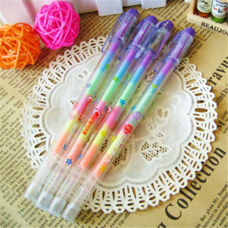 1Pc Novelty Gradient 6 Colors In 1 Gel Ink Pen Colorful Rainbow Student Pen Gift 7