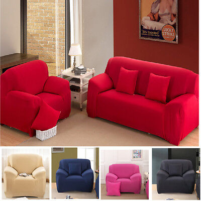 Solid Modern Stretch Chair Sofa Cover 1 2 3 4 Seater Couch Elastic Slipcover US 2